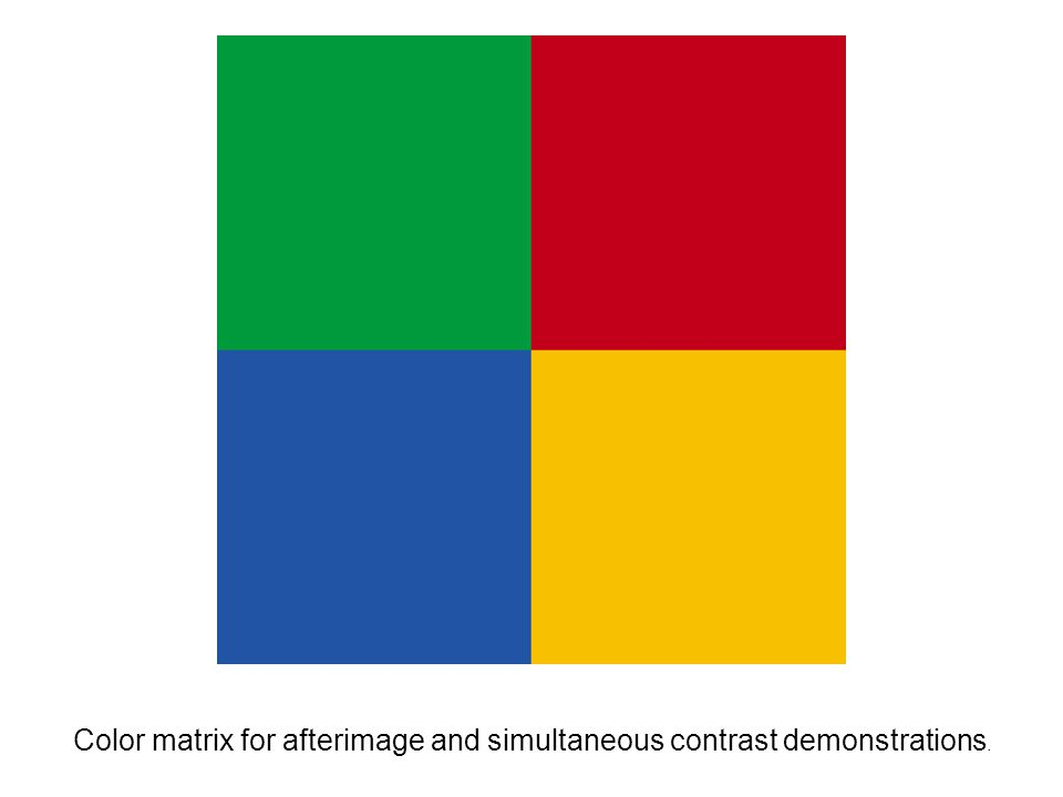 Color matrix for afterimage and simultaneous contrast demonstrations.