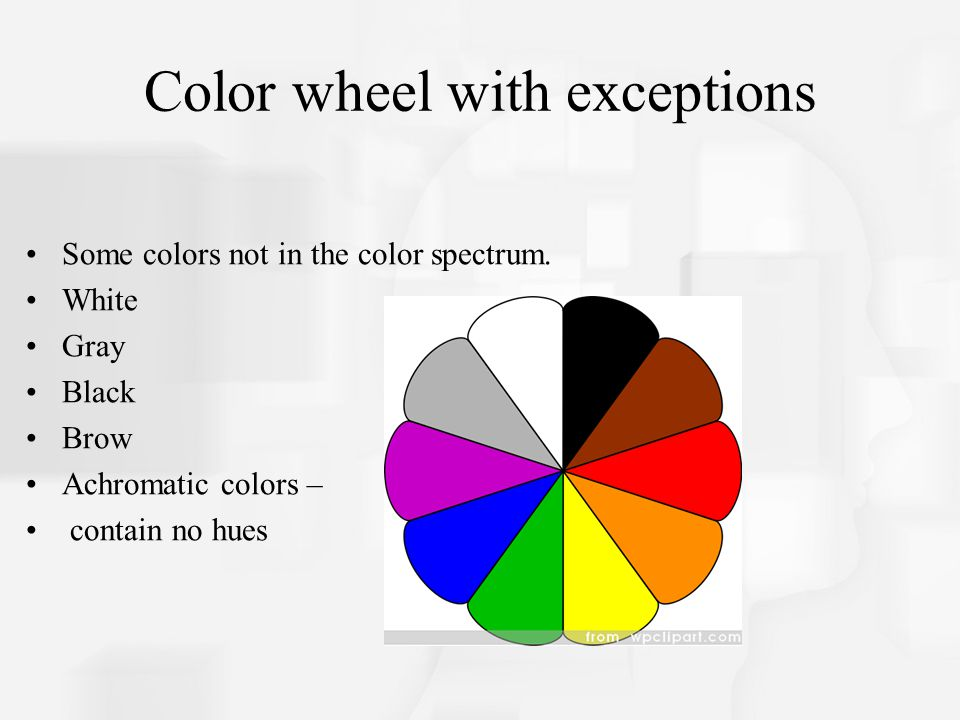 Color wheel with exceptions Some colors not in the color spectrum.