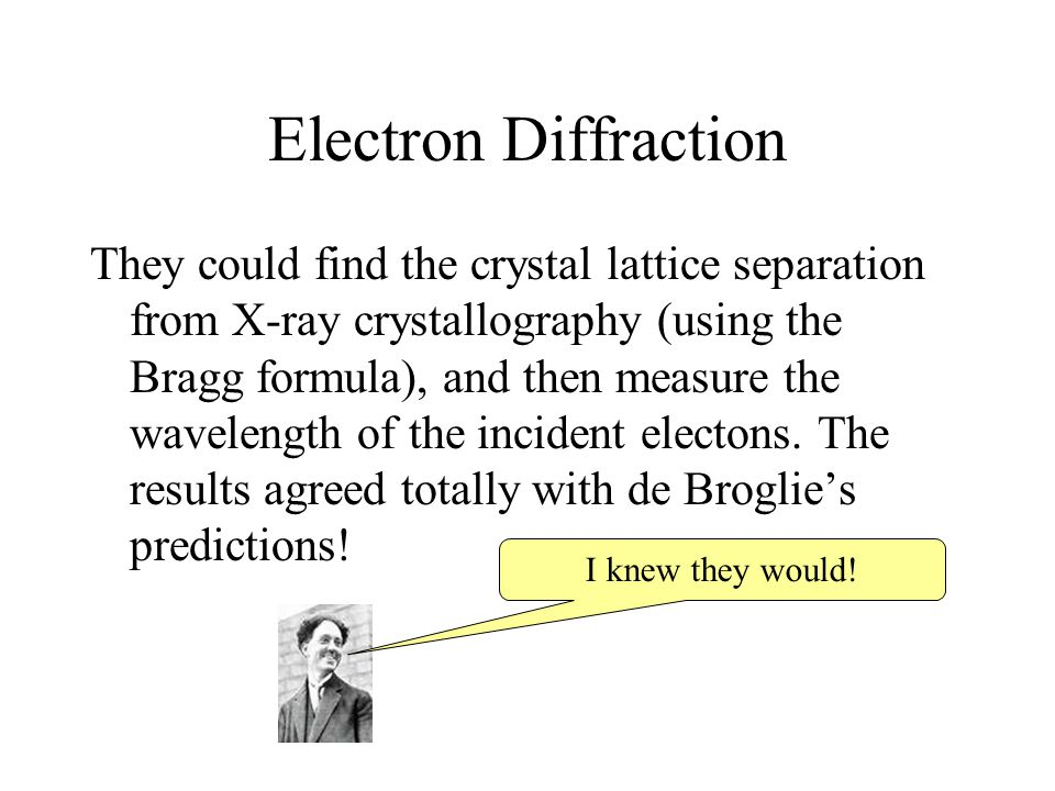 Electron Diffraction They could find the crystal lattice separation from X-ray crystallography (using the Bragg formula), and then measure the wavelen