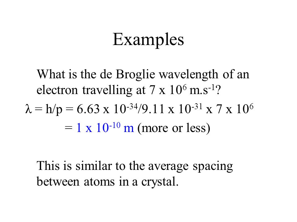 Examples What is the de Broglie wavelength of an electron travelling at 7 x 10 6 m.s -1 ? λ = h/p = 6.63 x 10 -34 /9.11 x 10 -31 x 7 x 10 6 = 1 x 10 -
