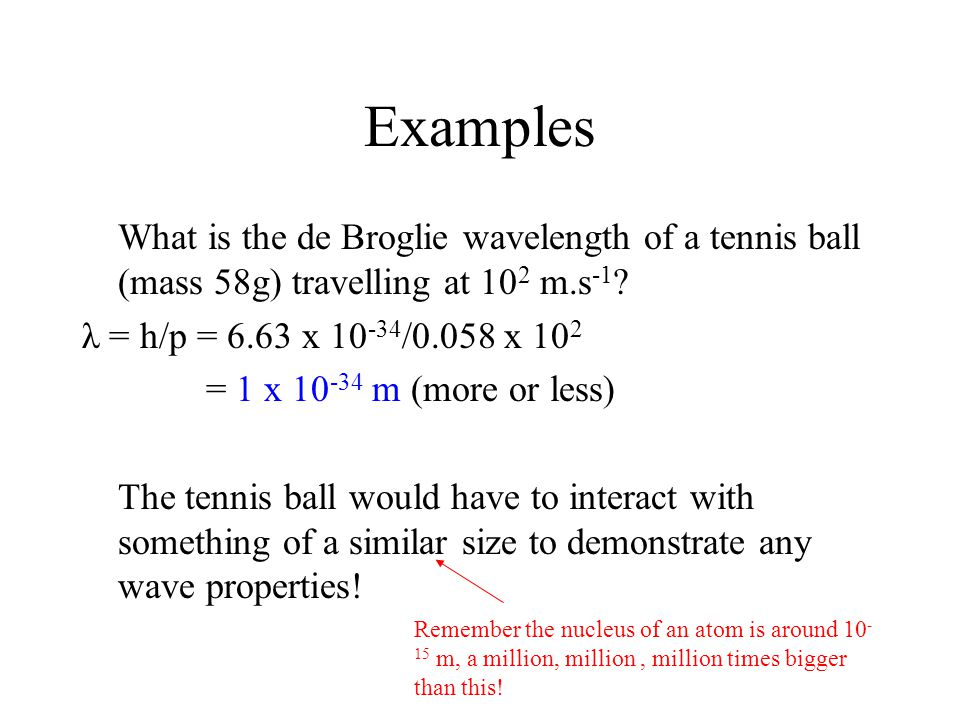 Examples What is the de Broglie wavelength of a tennis ball (mass 58g) travelling at 10 2 m.s -1 ? λ = h/p = 6.63 x 10 -34 /0.058 x 10 2 = 1 x 10 -34