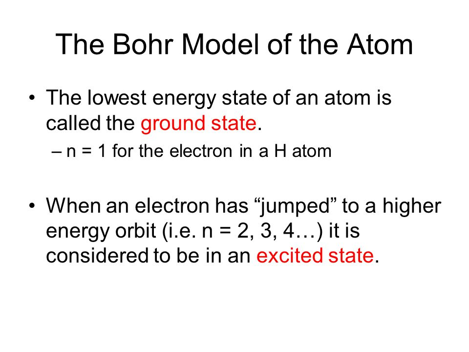 The Bohr Model of the Atom The lowest energy state of an atom is called the ground state.