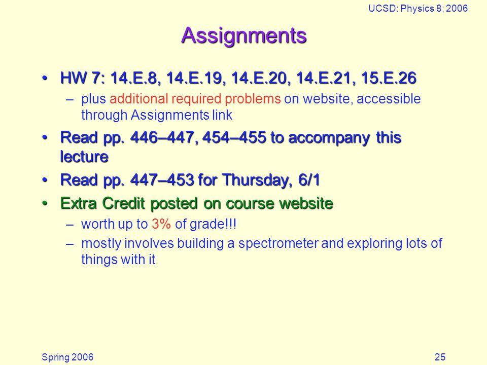 Spring 2006 UCSD: Physics 8; 2006 25 Assignments HW 7: 14.E.8, 14.E.19, 14.E.20, 14.E.21, 15.E.26HW 7: 14.E.8, 14.E.19, 14.E.20, 14.E.21, 15.E.26 –plus additional required problems on website, accessible through Assignments link Read pp.