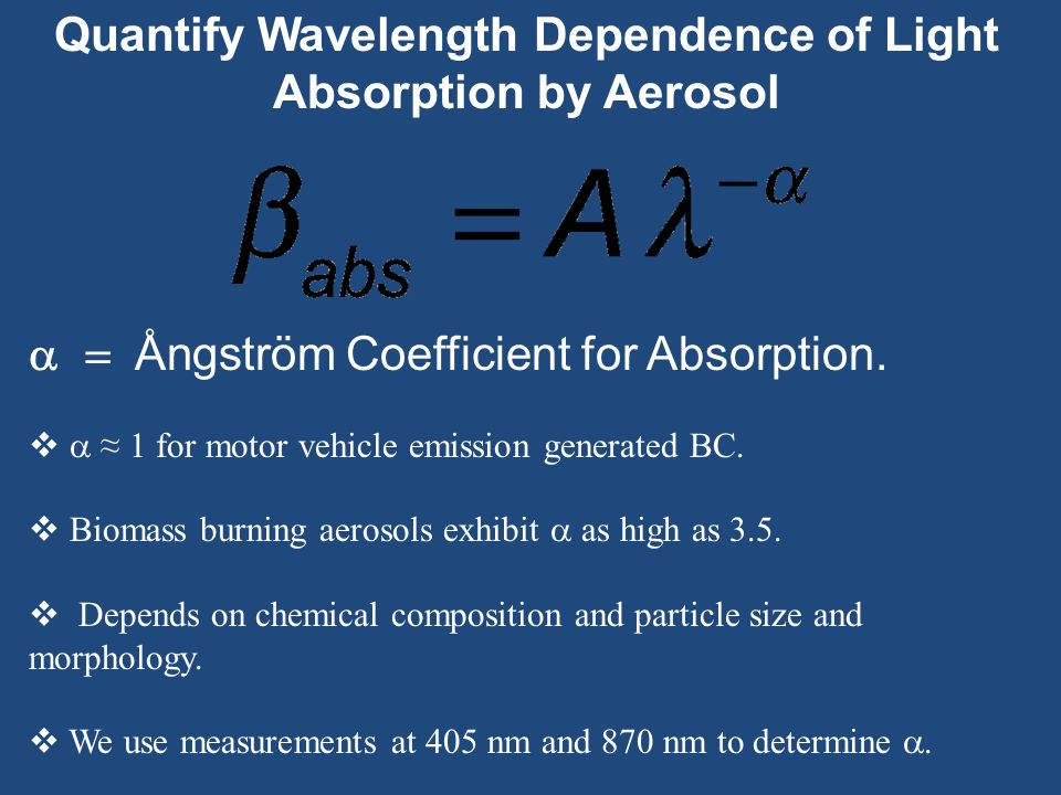 Quantify Wavelength Dependence of Light Absorption by Aerosol  Ångström Coefficient for Absorption.