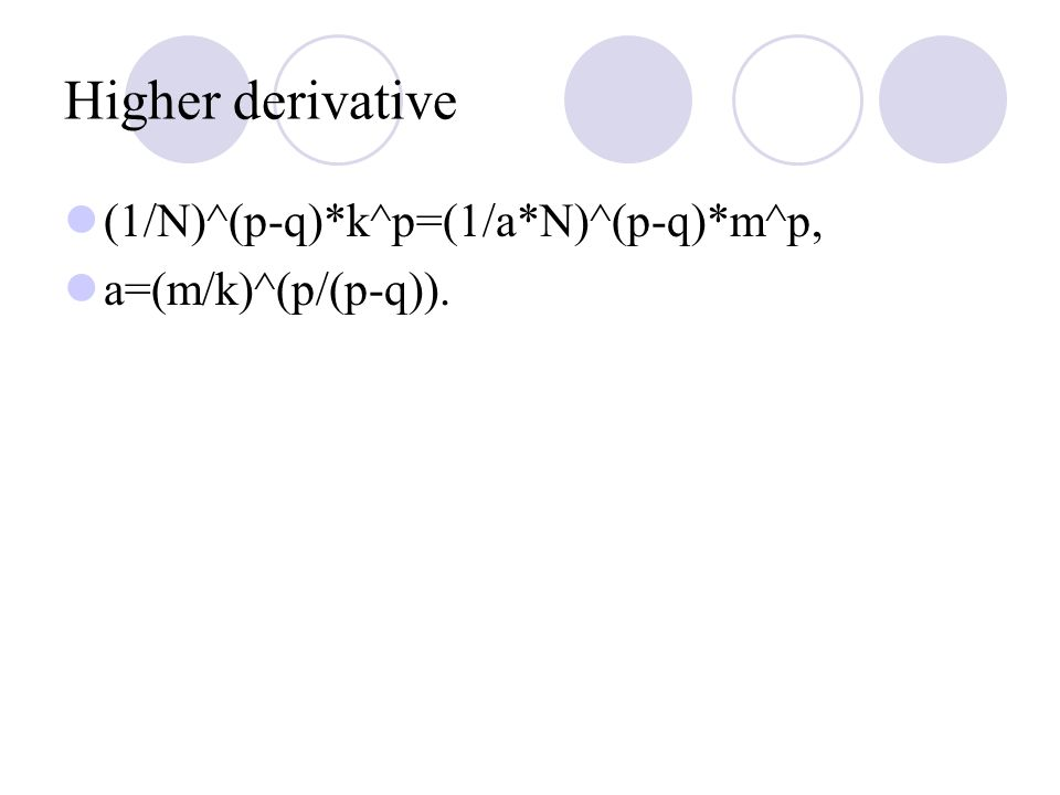 Higher derivative (1/N)^(p-q)*k^p=(1/a*N)^(p-q)*m^p, a=(m/k)^(p/(p-q)).