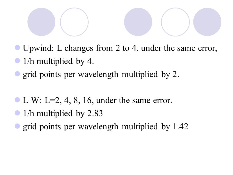 Upwind: L changes from 2 to 4, under the same error, 1/h multiplied by 4.