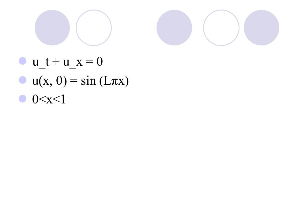 Method1: Upwind(1st order) Method2: Lax-Wendroff(2nd order) Method3: Traditional 4th order Method4: Compact schemes (4th order)