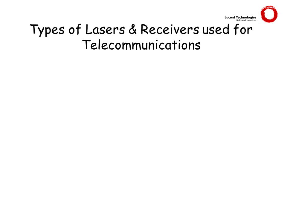 Types of Lasers & Receivers used for Telecommunications