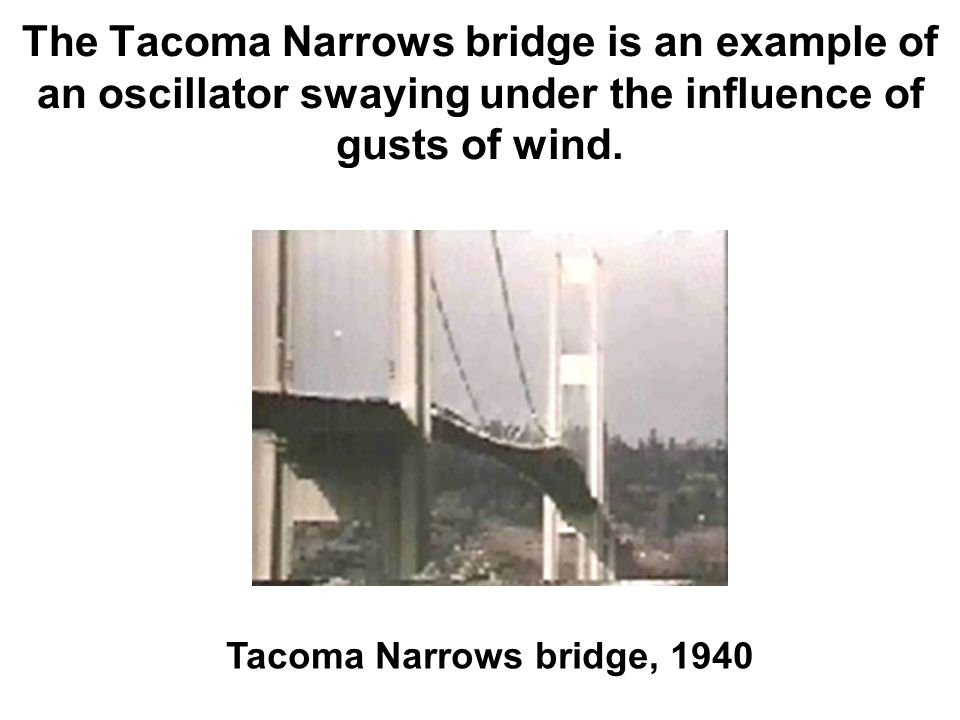 The Tacoma Narrows bridge is an example of an oscillator swaying under the influence of gusts of wind.