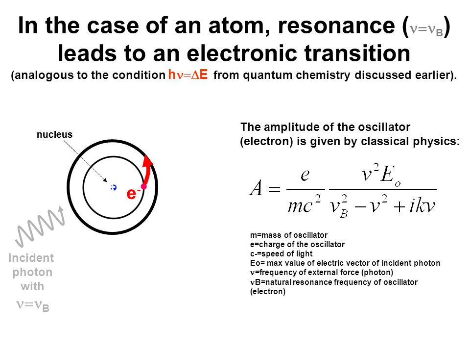 In the case of an atom, resonance (  B ) leads to an electronic transition (analogous to the condition h  E from quantum chemistry discussed earlier).