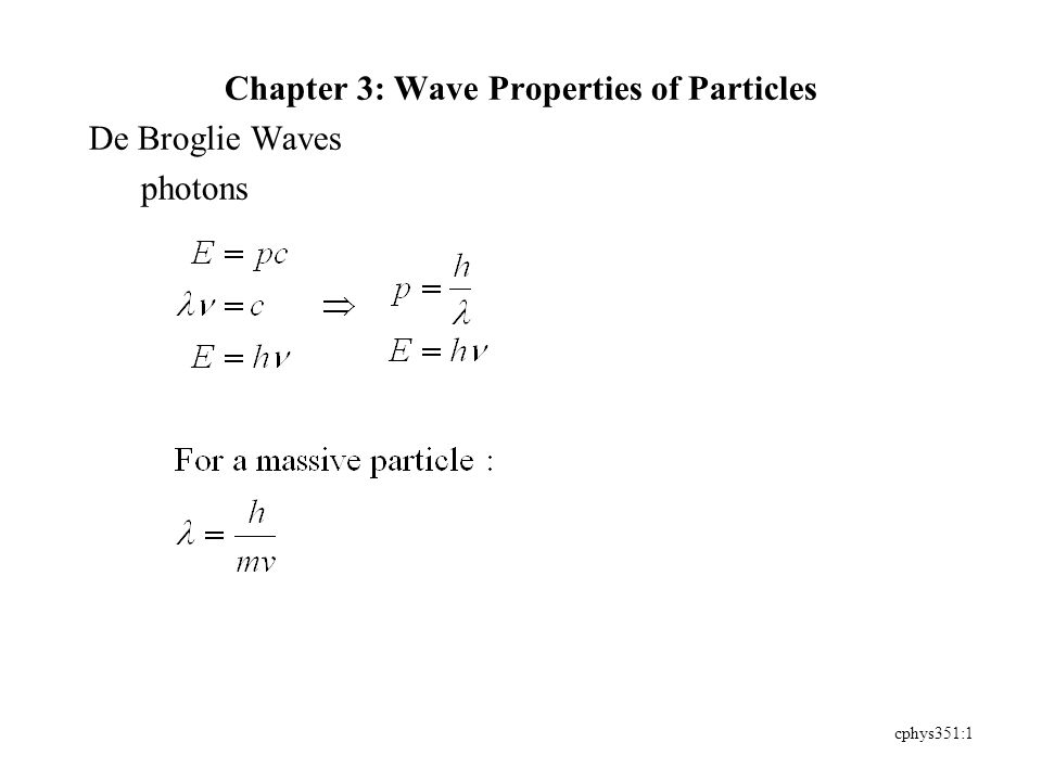 cphys351:1 Chapter 3: Wave Properties of Particles De Broglie Waves photons