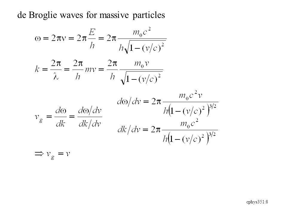 cphys351:9 Example 3.3 An electron has a de Broglie wavelength of 2.00 pm Find its kinetic energy, as well as the phase and group velocity of the waves.