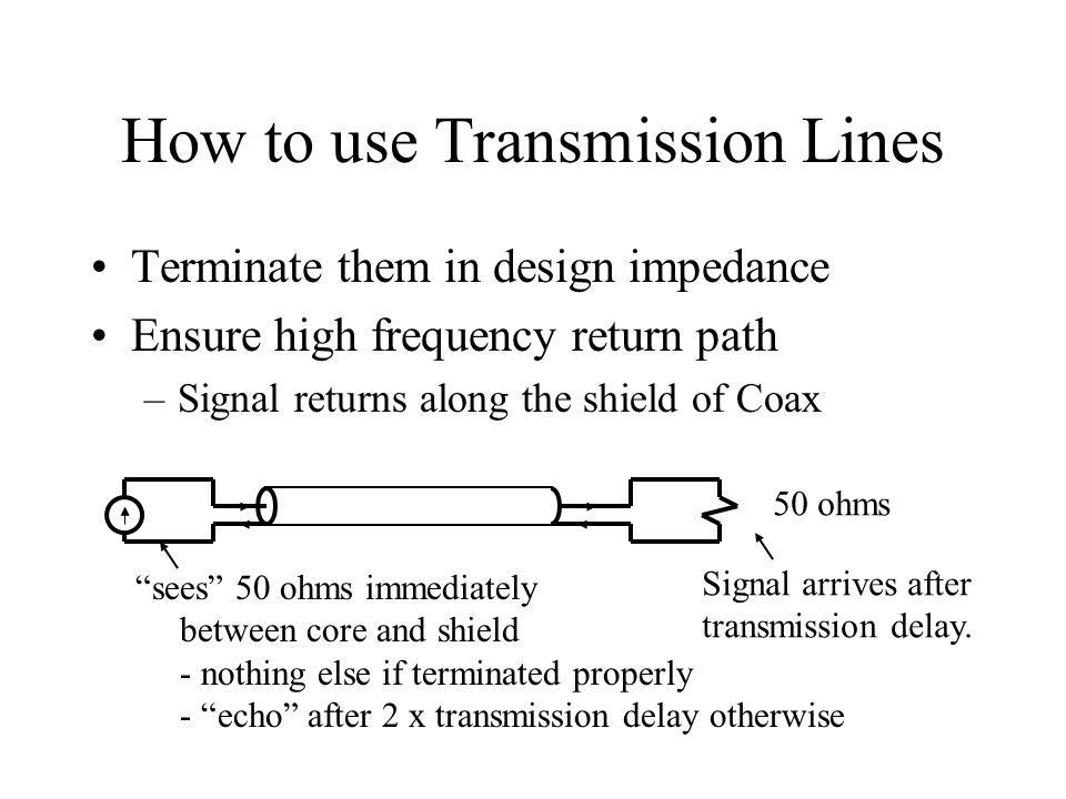 How to use Transmission Lines Terminate them in design impedance Ensure high frequency return path –Signal returns along the shield of Coax 50 ohms sees 50 ohms immediately between core and shield - nothing else if terminated properly - echo after 2 x transmission delay otherwise Signal arrives after transmission delay.
