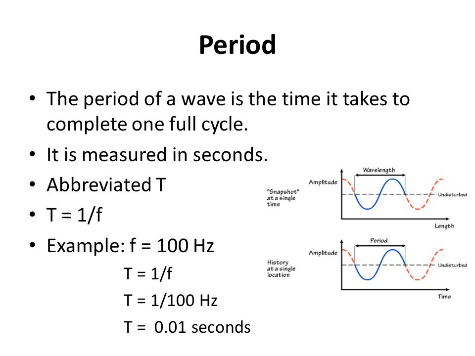 Period The period of a wave is the time it takes to complete one full cycle.