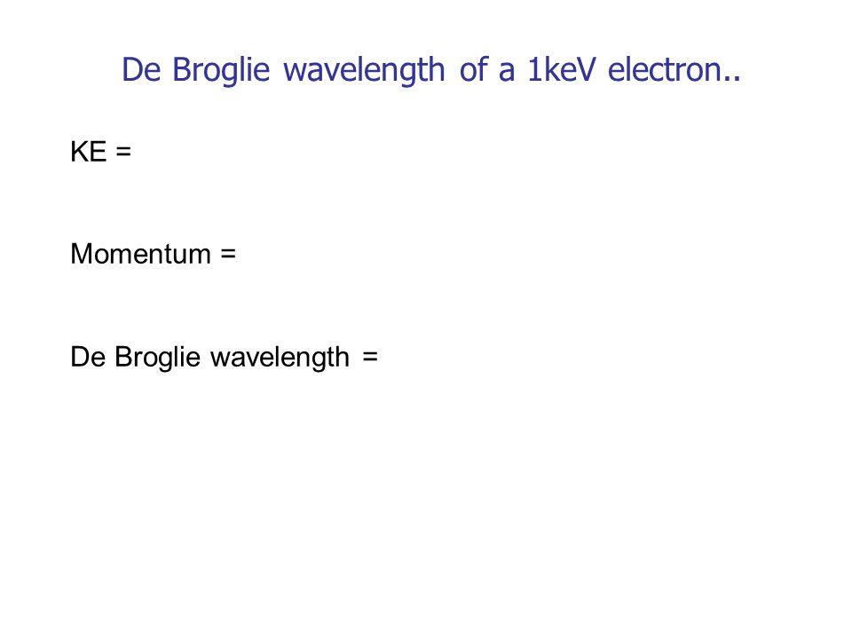De Broglie wavelength of a 1keV electron.. KE = Momentum = De Broglie wavelength =