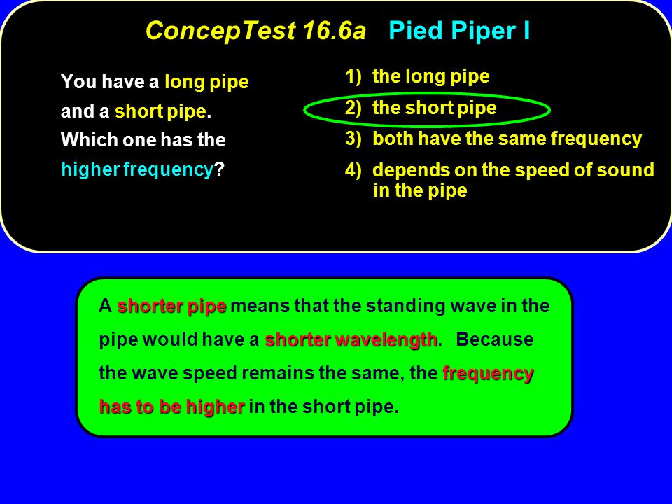 shorter pipe shorter wavelength frequency has to be higher A shorter pipe means that the standing wave in the pipe would have a shorter wavelength.