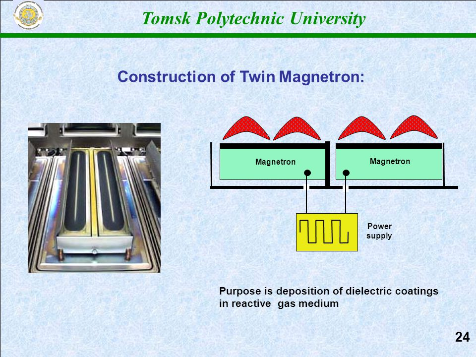 Power supply Magnetron Purpose is deposition of dielectric coatings in reactive gas medium Construction of Twin Magnetron: Tomsk Polytechnic University 2424