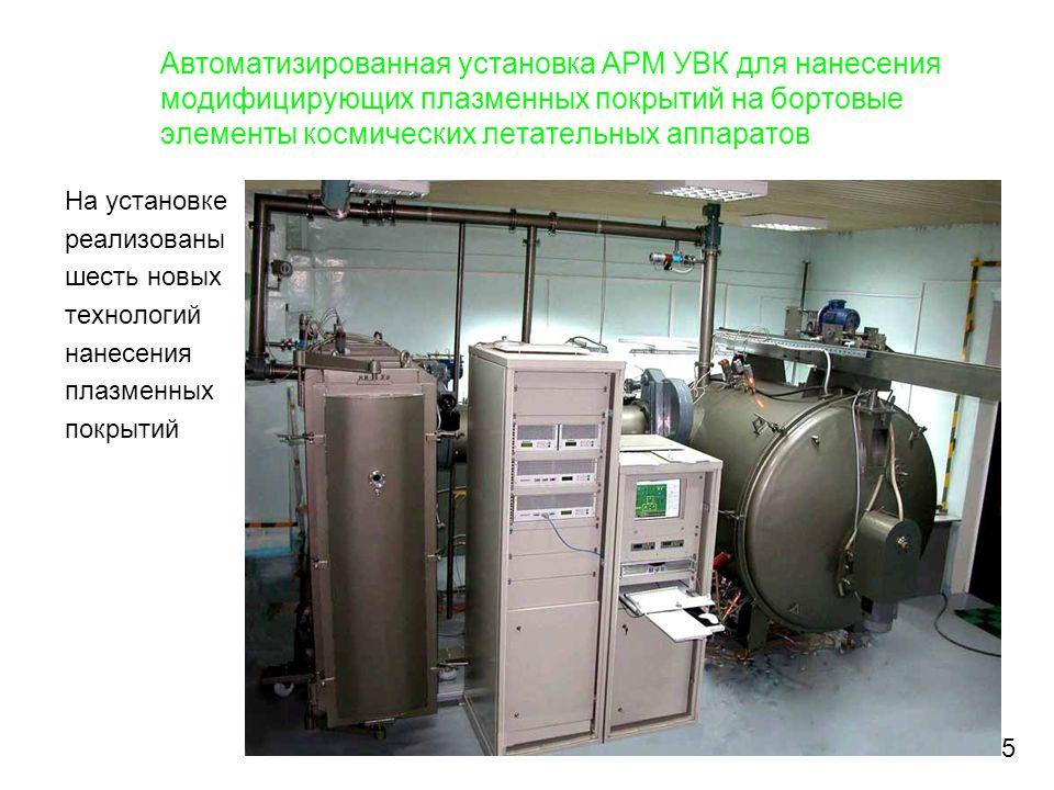 Автоматизированная установка АРМ УВК для нанесения модифицирующих плазменных покрытий на бортовые элементы космических летательных аппаратов На устано