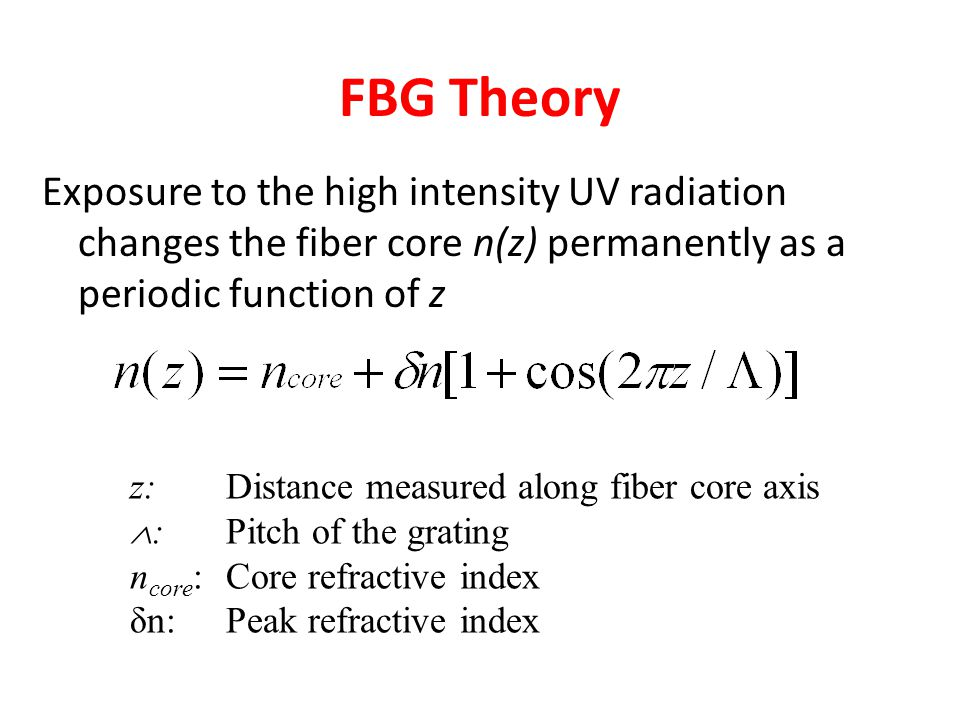 FBG Theory Exposure to the high intensity UV radiation changes the fiber core n(z) permanently as a periodic function of z z: Distance measured along