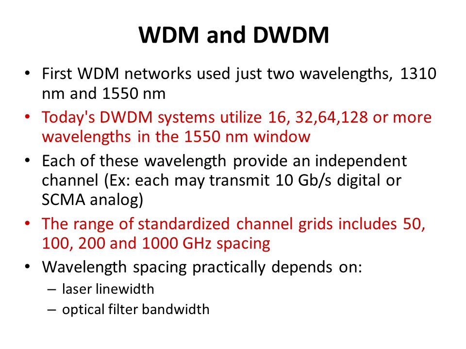 ITU-T Standard Transmission DWDM windows