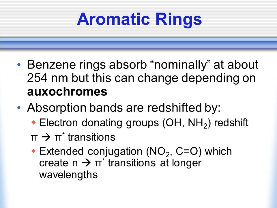 Aromatic Rings Benzene rings absorb nominally at about 254 nm but this can change depending on auxochromes Absorption bands are redshifted by:  Electron donating groups (OH, NH 2 ) redshift π  π * transitions  Extended conjugation (NO 2, C=O) which create n  π * transitions at longer wavelengths