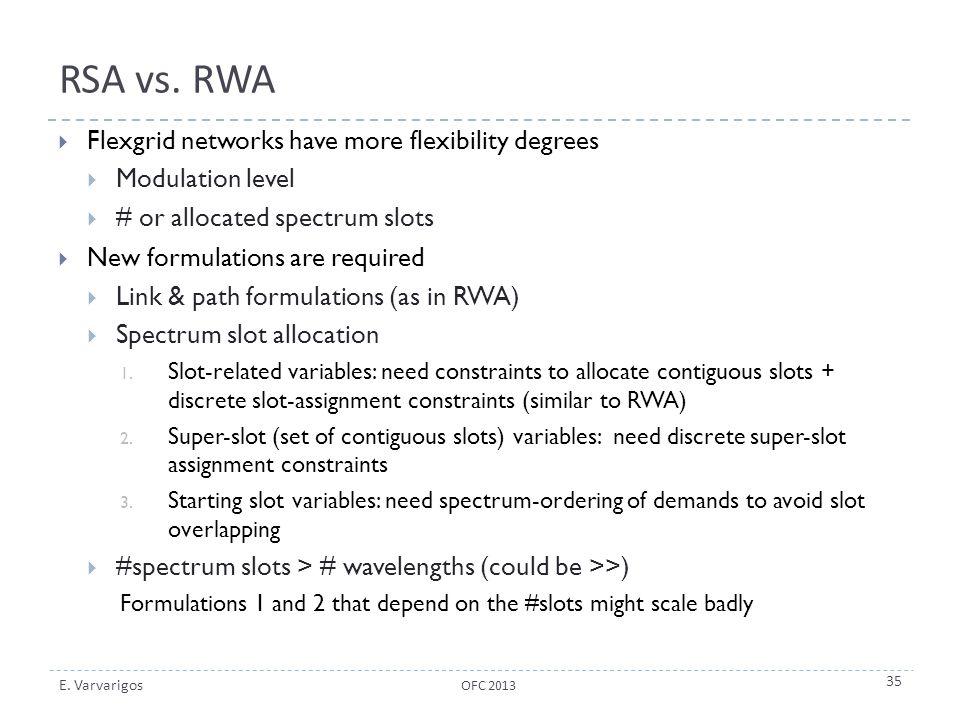 E. Varvarigos RSA vs. RWA  Flexgrid networks have more flexibility degrees  Modulation level  # or allocated spectrum slots  New formulations are