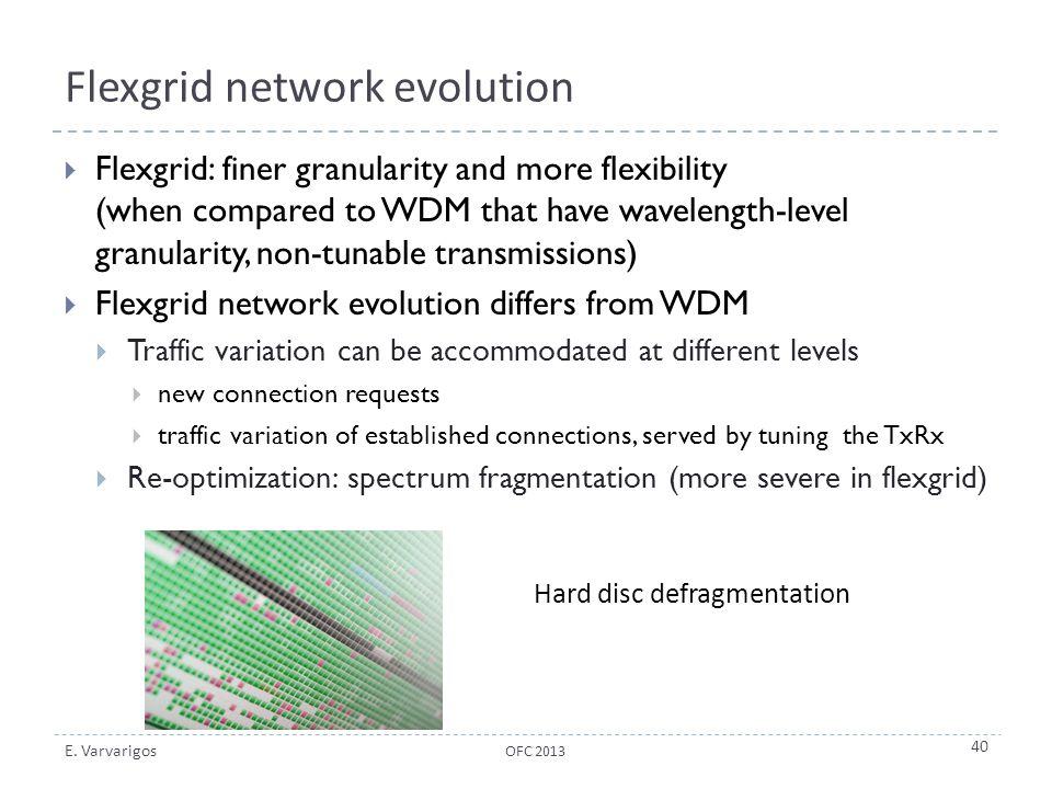 E. Varvarigos Flexgrid network evolution  Flexgrid: finer granularity and more flexibility (when compared to WDM that have wavelength-level granulari