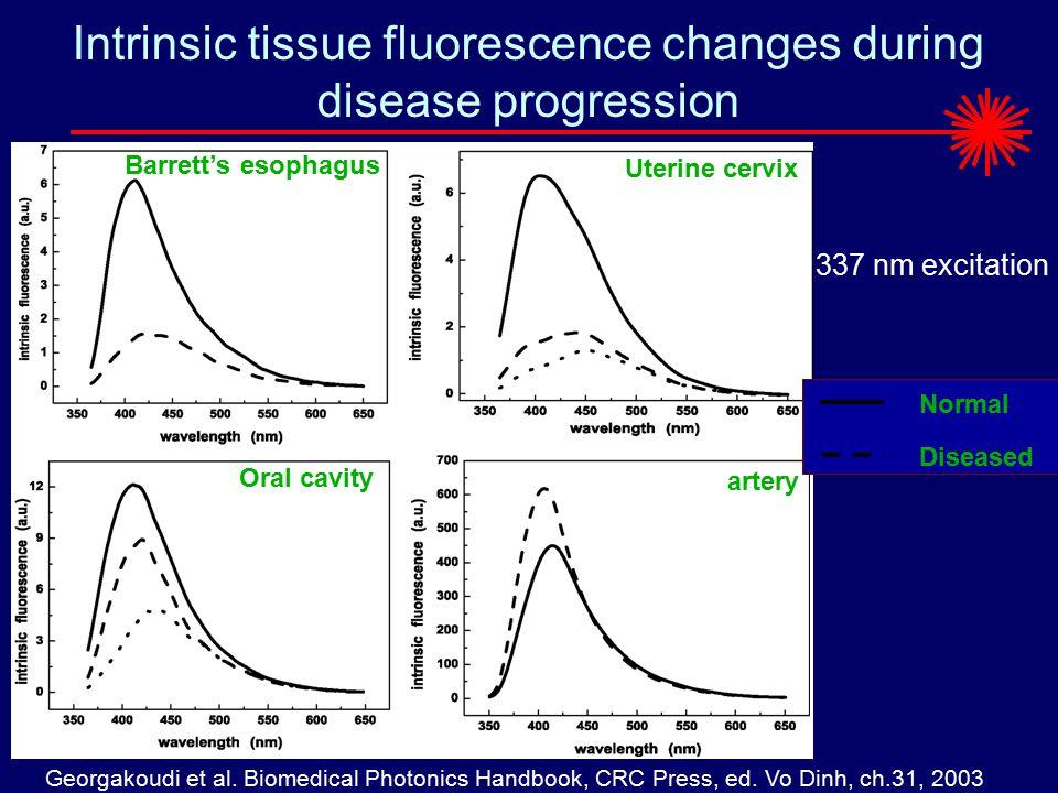Intrinsic tissue fluorescence changes during disease progression Barrett's esophagus Uterine cervix Oral cavity artery Normal Diseased 337 nm excitation Georgakoudi et al.