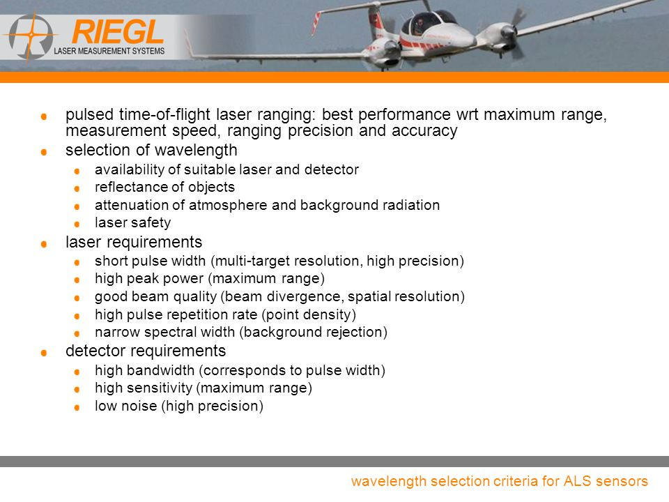wavelength selection criteria for ALS sensors pulsed time-of-flight laser ranging: best performance wrt maximum range, measurement speed, ranging prec