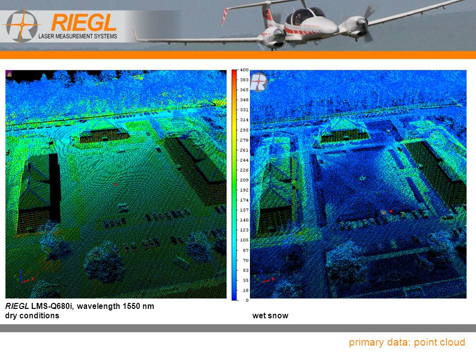 RIEGL LMS-Q680i, wavelength 1550 nm dry conditionswet snow primary data: point cloud