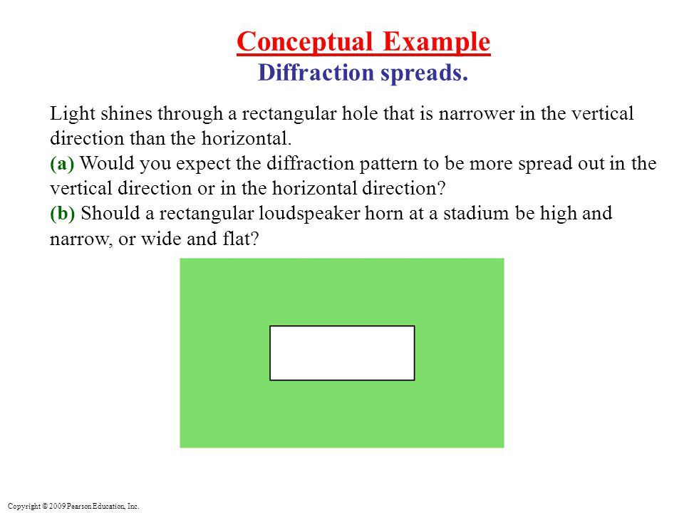 Copyright © 2009 Pearson Education, Inc. Conceptual Example Diffraction spreads.