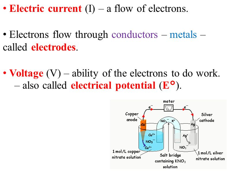 Electric current (I) – a flow of electrons. Electrons flow through conductors – metals – called electrodes. Voltage (V) – ability of the electrons to