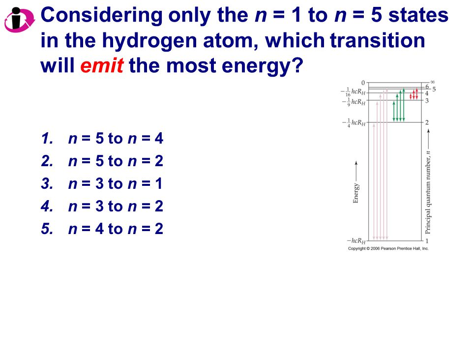 Correct Answer: 1.n = 4 to n = 2 2.n = 5 to n = 2 3.n = 5 to n = 3 4.n = 6 to n = 4 The wavelength increases as frequency decreases.
