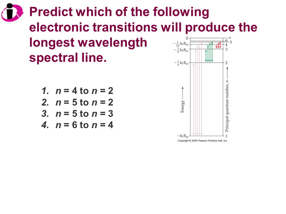 Predict which of the following electronic transitions will produce the longest wavelength spectral line. 1.n = 4 to n = 2 2.n = 5 to n = 2 3.n = 5 to