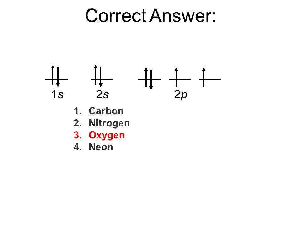 Correct Answer: 1.Carbon 2.Nitrogen 3.Oxygen 4.Neon 1s1s2s2s2p2p