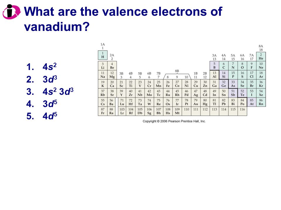 What are the valence electrons of vanadium? 1.4s 2 2.3d 3 3.4s 2 3d 3 4.3d 5 5.4d 5