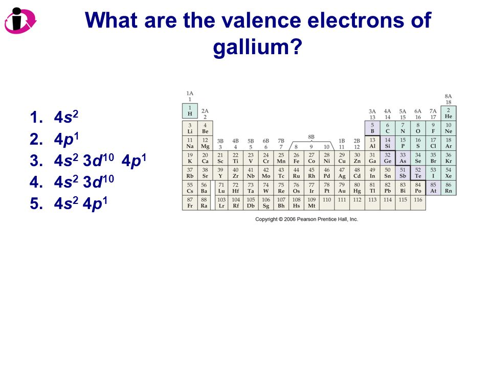 What are the valence electrons of gallium? 1.4s 2 2.4p 1 3.4s 2 3d 10 4p 1 4.4s 2 3d 10 5.4s 2 4p 1