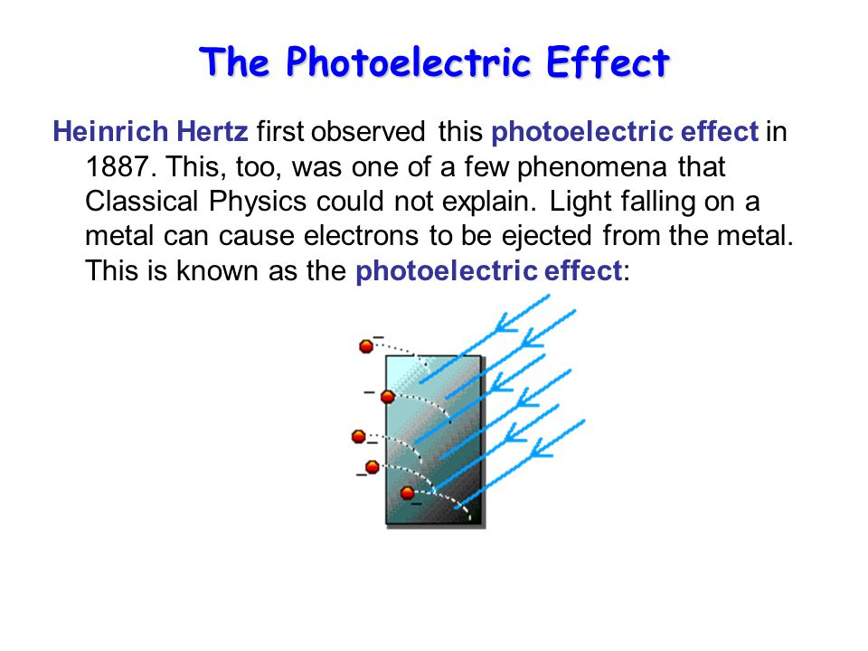 The Photoelectric Effect Heinrich Hertz first observed this photoelectric effect in 1887.