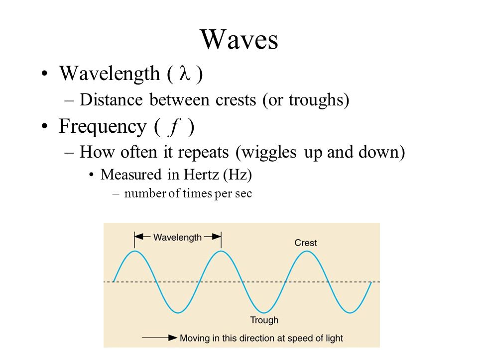 Waves Wavelength ( ) –Distance between crests (or troughs) Frequency ( f ) –How often it repeats (wiggles up and down) Measured in Hertz (Hz) –number