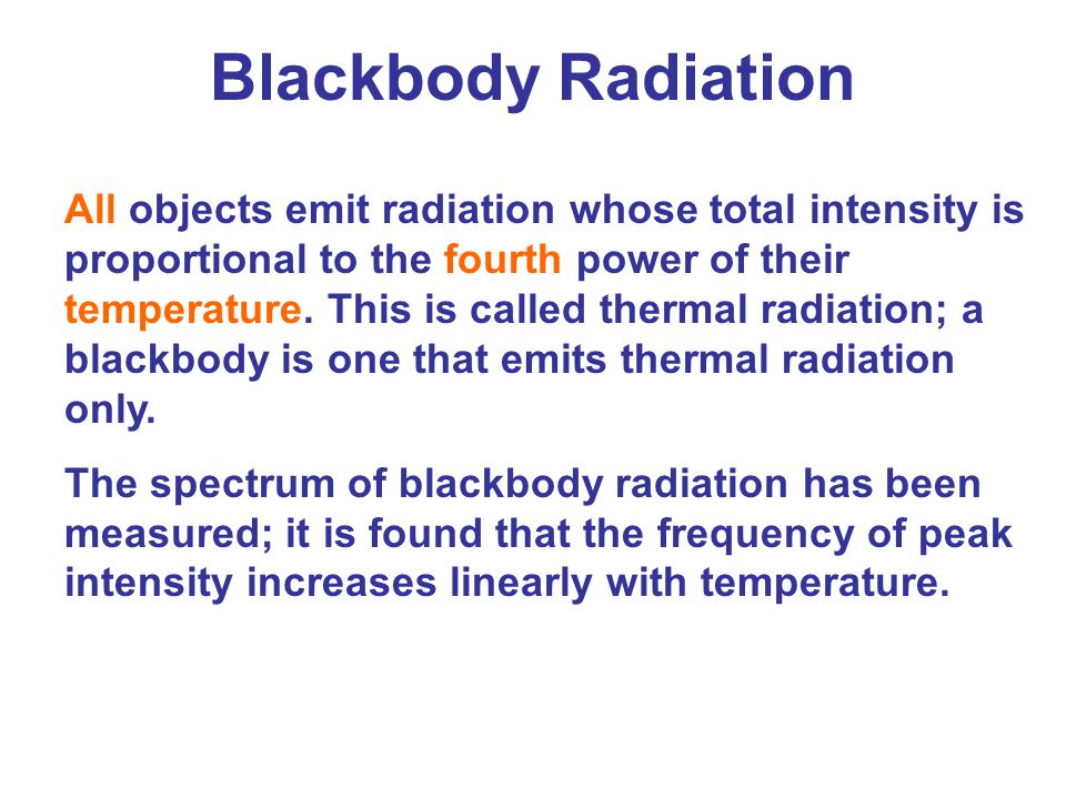 This figure shows blackbody radiation curves for three different temperatures.