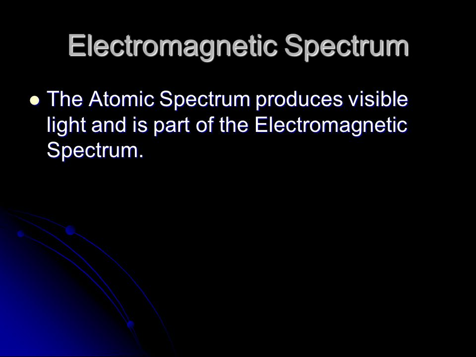 Electromagnetic Spectrum The Atomic Spectrum produces visible light and is part of the Electromagnetic Spectrum.
