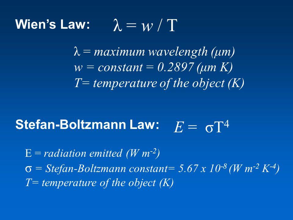 Wien's Law: E = σT 4 λ = w / T λ = maximum wavelength (μm) w = constant = 0.2897 (μm K) T= temperature of the object (K) Stefan-Boltzmann Law: E = rad