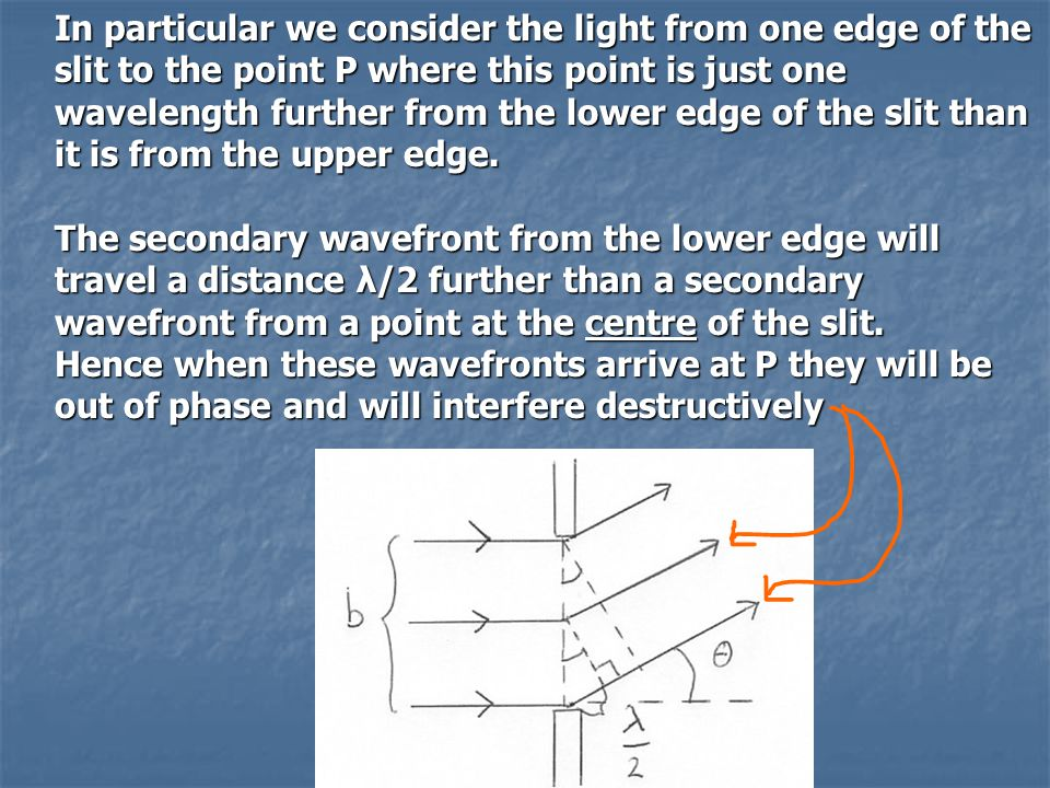 In particular we consider the light from one edge of the slit to the point P where this point is just one wavelength further from the lower edge of th