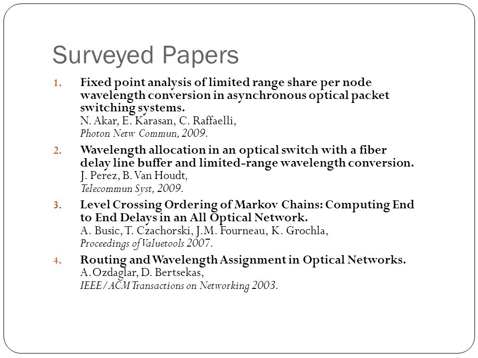 Surveyed Papers 1.