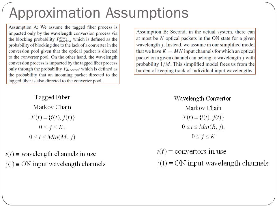Approximation Assumptions