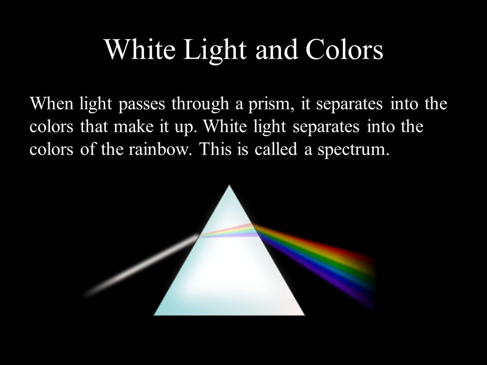 Wavelength and Color Different colors of visible light correspond to different wavelengths.