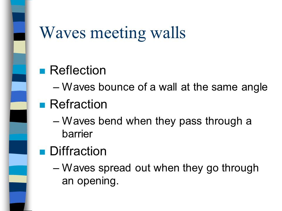 Waves meeting walls n Reflection –Waves bounce of a wall at the same angle n Refraction –Waves bend when they pass through a barrier n Diffraction –Waves spread out when they go through an opening.