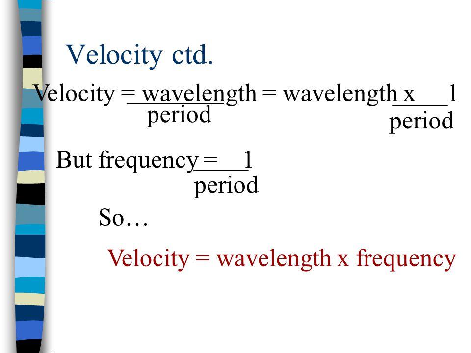 Velocity ctd.