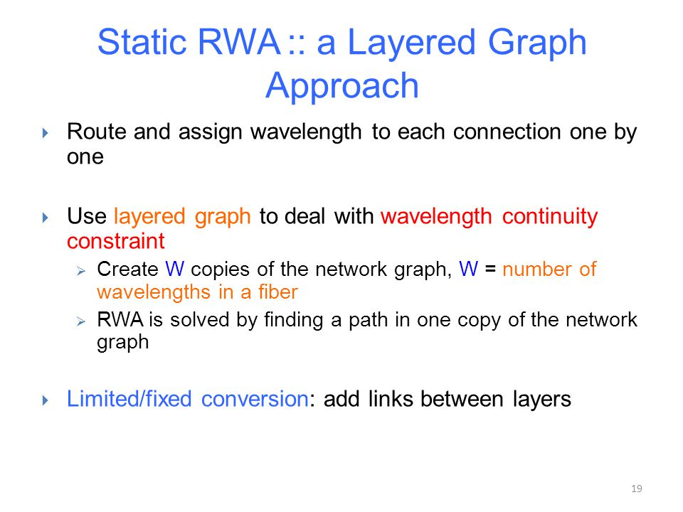19 Static RWA :: a Layered Graph Approach  Route and assign wavelength to each connection one by one  Use layered graph to deal with wavelength cont
