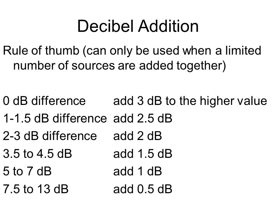 Decibel Addition Rule of thumb (can only be used when a limited number of sources are added together) 0 dB differenceadd 3 dB to the higher value 1-1.5 dB differenceadd 2.5 dB 2-3 dB differenceadd 2 dB 3.5 to 4.5 dBadd 1.5 dB 5 to 7 dBadd 1 dB 7.5 to 13 dBadd 0.5 dB